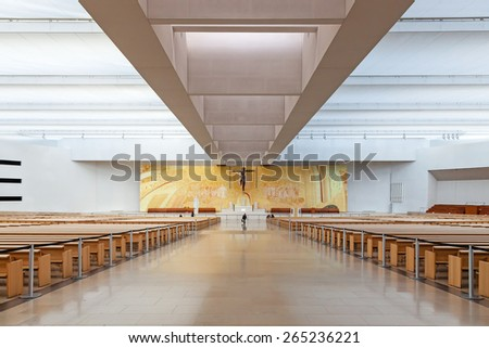 Sanctuary of Fatima, Portugal, March 07, 2015 - Interior of the modern Minor Basilica of Most Holy Trinity. Fatima is one of the most important pilgrimage locations for the Catholics in the world - stock photo