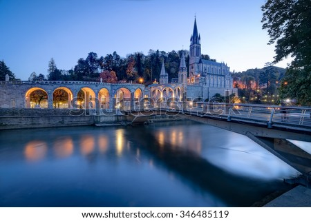 Sanctuary of Our Lady of Lourdes in France - stock photo