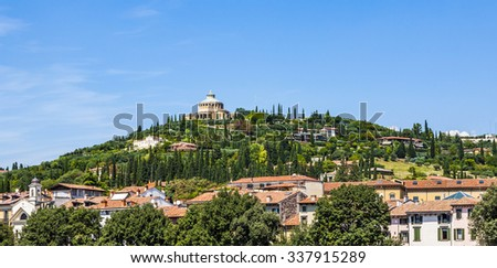 Sanctuary of the Madonna of Lourde, Verona, Italy, over the river Adige - stock photo