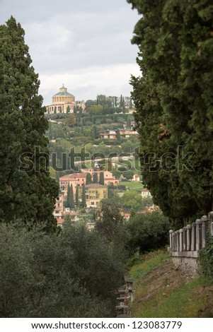 Sanctuary of the Madonna of Lourdes and the old city Verona, Italy - stock photo