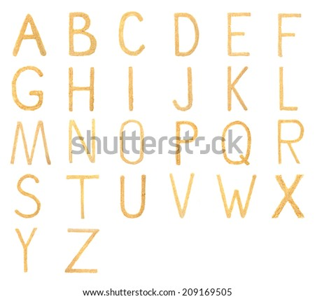 Sand alphabet letters isolated on white