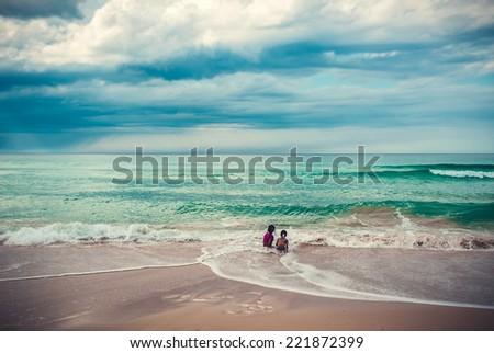 sand and beach with sunset - stock photo