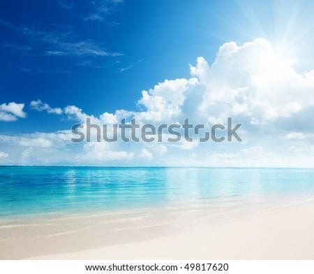 sand and Caribbean sea - stock photo