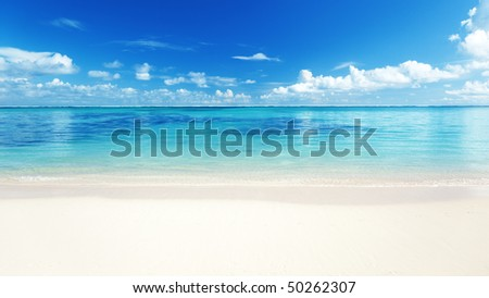 sand and Caribbean sea - stock photo