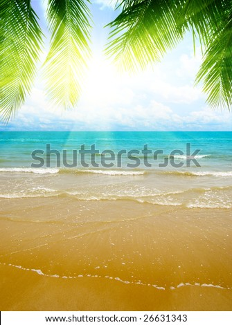 sand and ocean - stock photo