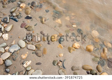 Sand and rock beside river