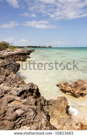 sand and rocky shoreline in the tropics