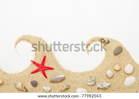 sand and sea shells isolated  . Beach sand with sea shell and star fish postcard - stock photo