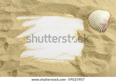 Sand and seashells frame - stock photo