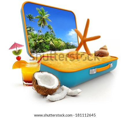sand and shells in a suitcase isolated on white background - stock photo