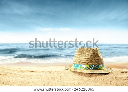 sand and sun hat  - stock photo