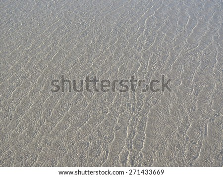 sand and water wave with lighting of beach shore - stock photo
