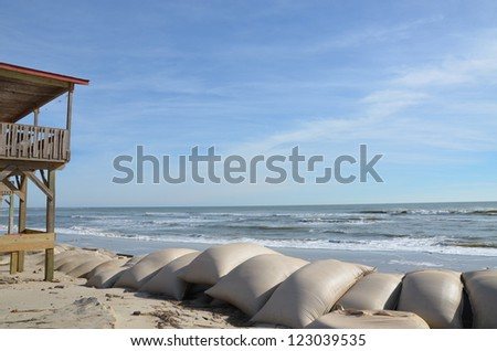 Sand bags along the beach in North Carolina to protect from heavy surf and erosion.