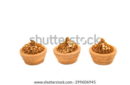 Sand basket with cream on a white background - stock photo