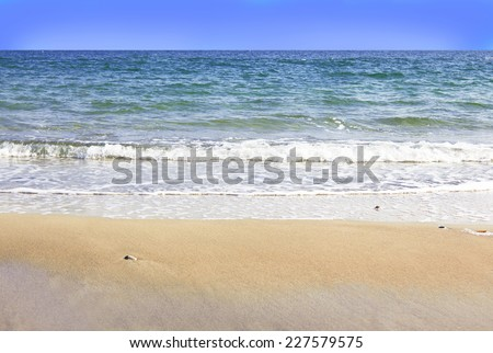 Sand beach and waves of Black Sea  - stock photo