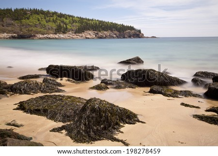 Sand Beach at Acadia National Park, Maine - stock photo
