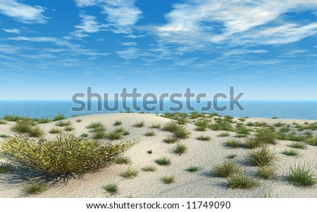 Sand beach has soft mounds and many clumps of wild grass. Blue sea and summer sky.