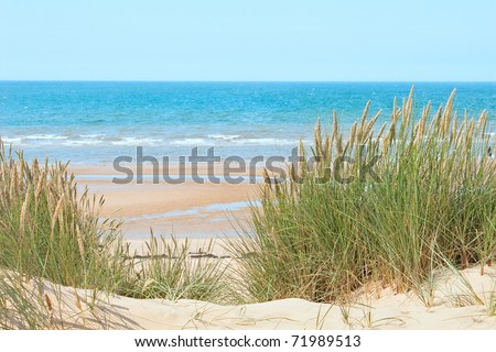 Sand beach of Formby near Liverpool, the North West Coast of England - stock photo