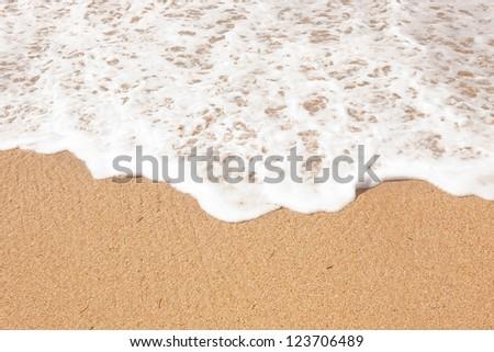 Sand beach water background - stock photo