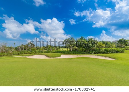 Sand bunker on the golf course of the luxury Mexican resort. Bahia Principe, Riviera Maya.