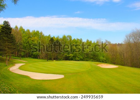 Sand bunkers on the golf course at french resort. Saint Saens
