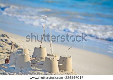 sand castle by the shore. Shot  in Alghero, Sardinia - stock photo