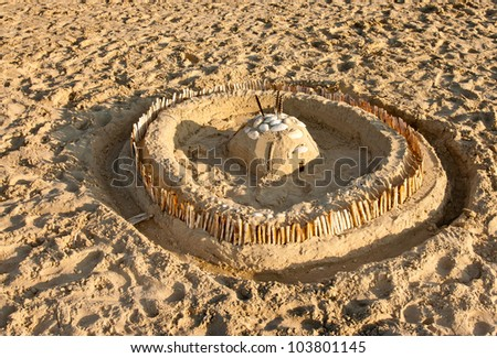 Sand Castle on the beach of St. Peter Ording - stock photo