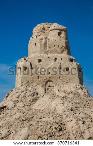 Sand castle on the beach. Ruins, closeup - stock photo