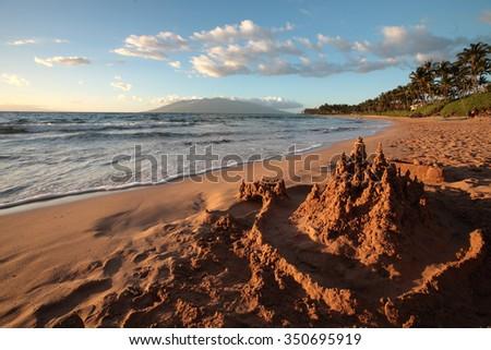 Sand castle on the Hawaiian ocean beach. Hawaii, Maui, USA - stock photo
