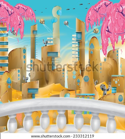 Sand City, A Cute cartoon cityscape with building made from sand, this is a busy scene with spaceships flying in the sky you are viewing the city from a marble balcony. - stock photo