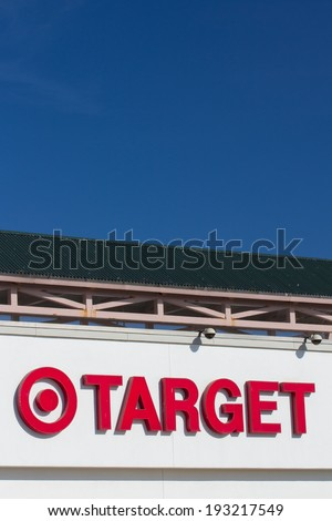 SAND CITY, CA/USA - MAY 14, 2014  Exterior view of a Target retail store. Target Corporation is an American retailing company and second-largest discount retailer in the United States. - stock photo