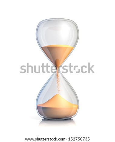 Sand clock - isolated on white background  - stock photo