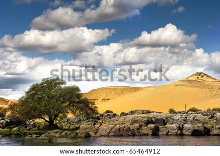 Sand desert and Nilo river