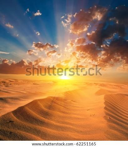 sand desert at the sunset - stock photo