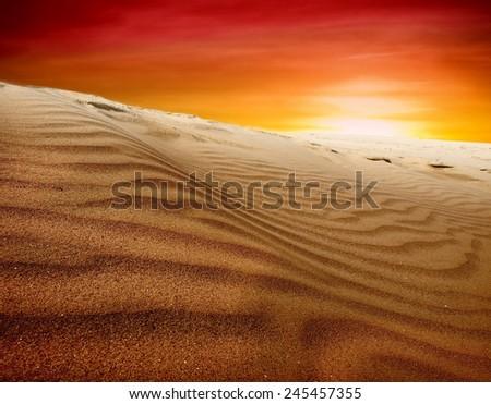 sand desert,sunset - stock photo