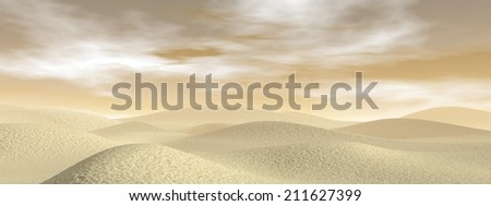 Sand desert with dunes by brown day - 3D render - stock photo
