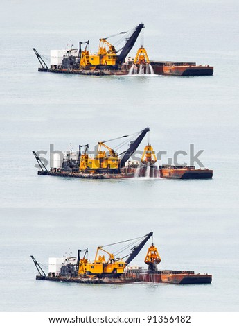 Sand dredging from the South China Sea in Singapore. 3 images at of dredger as it brings up sand from the seabed and prepares to deposit it on a barge. - stock photo
