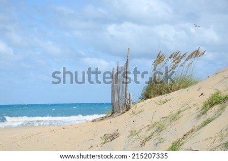 sand dune beach and ocean waves - stock photo