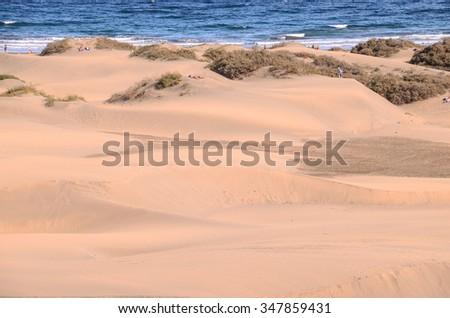 Sand Dune Desert in Maspalomas Gran Canaria Island Spain - stock photo