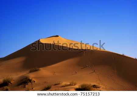 Sand dune in desert national park Altyn-Emel, Kazakhstan - stock photo