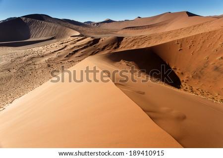 Sand Dune Landscape at Sossusvlei in the Namib Desert, Namibia, Africa - stock photo