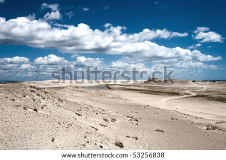 sand dune of tatajuba near jericoacoara in ceara state in brazil - stock photo