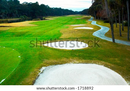 Sand dune on the golf course. More with keyword Group12A. - stock photo