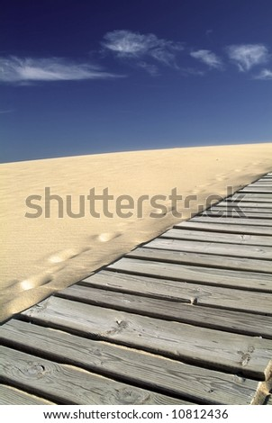 Sand dune with a wooden path