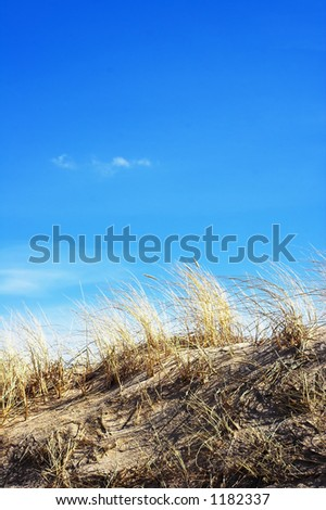 sand dunes and sky - stock photo