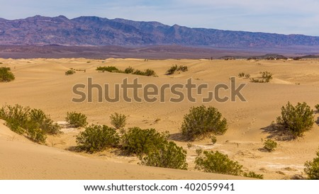Sand dunes are nearly surrounded by mountains on all sides. View of dry hot arid landscape of wilderness. Mesquite Flat Sand Dunes, Death Valley National Park, California - stock photo