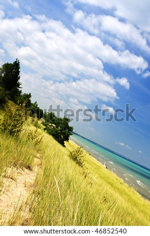 Sand dunes at beach shore. Pinery provincial park, Ontario Canada - stock photo