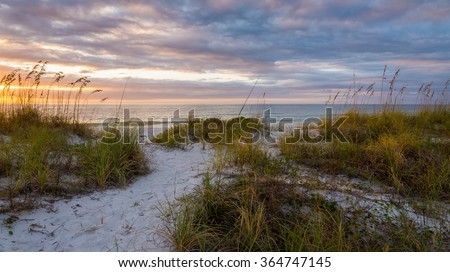 Sand Dunes At Dusk Clearwater Beach Florida - stock photo