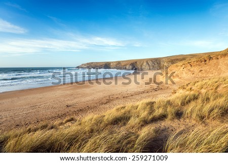 Sand dunes at Holywell Bay a large sandy beach near Newquay in Cornwall - stock photo