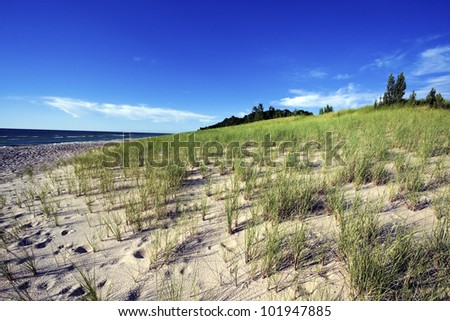 Sand Dunes by the shore of Lake Michigan in Michigan, USA. - stock photo